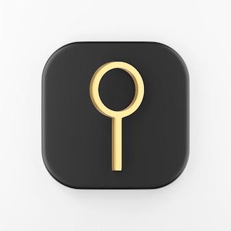 Ícone de lupa dourada. botão chave quadrado preto de renderização 3d, elemento interface ui ux.