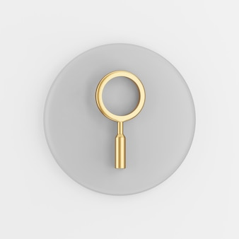 Ícone de lupa dourada no estilo cartoon. chave de botão redondo cinza de renderização 3d, elemento interface ui ux.
