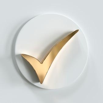 Ícone de marca de verificação símbolo do ícone de lista de verificação com efeito 3d renderização em 3d