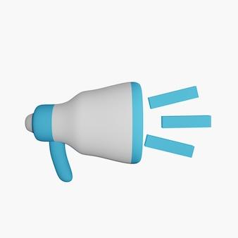 Ícone de megafone 3d em fundo branco