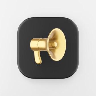 Ícone de megafone dourado em estilo cartoon. botão chave quadrado preto de renderização 3d, elemento interface ui ux.