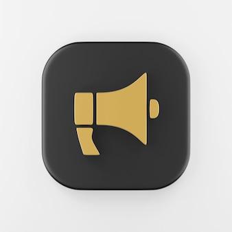 Ícone de megafone dourado em estilo simples. botão chave quadrado preto de renderização 3d, elemento interface ui ux.