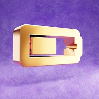 Ícone de meia bateria isolado em veludo violeta