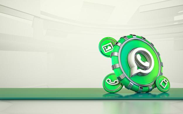 Ícone de mídia social de renderização 3d do whatsapp fundo isolado