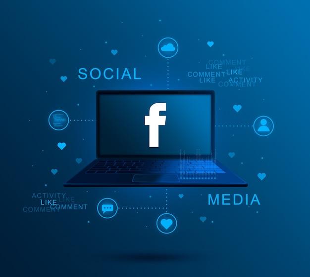 Ícone de mídia social facebook na tela do laptop