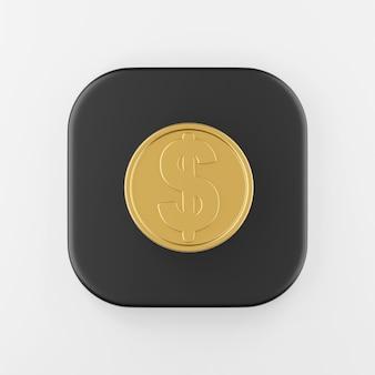 Ícone de moeda de ouro do dólar em estilo cartoon. chave do botão quadrado preto de renderização 3d, elemento interface ui ux.