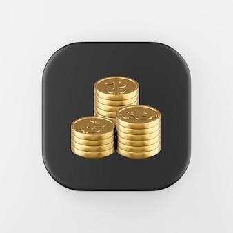 Ícone de moedas dobradas de ouro em estilo cartoon. chave do botão quadrado preto de renderização 3d, elemento interface ui ux.