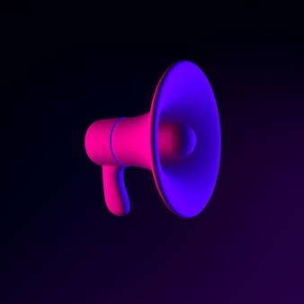 Ícone de néon do megafone. elemento de interface ui ux de renderização 3d. símbolo escuro e brilhante.