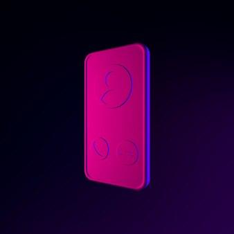 Ícone de néon do smartphone. elemento de interface ui ux de renderização 3d. símbolo escuro e brilhante.