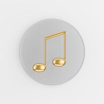 Ícone de nota musical de ouro em estilo cartoon. chave de botão redondo cinza de renderização 3d, elemento interface ui ux.