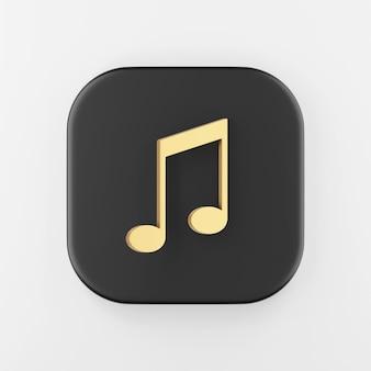 Ícone de nota musical dourada em estilo simples. chave do botão quadrado preto de renderização 3d, elemento interface ui ux.