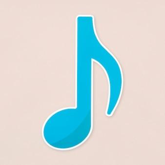 Ícone de notas oitavo azul isolado