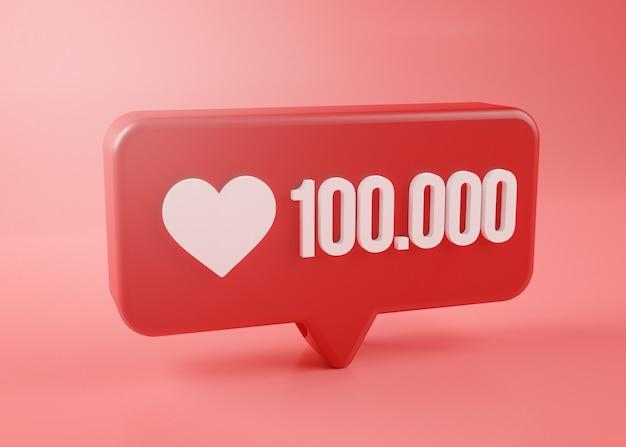 Ícone de notificação de cem mil amor renderização em 3d no fundo rosa