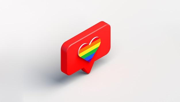 Ícone de notificação de mídia social com coração com bandeira do orgulho. gostar. ilustração 3d. vista isométrica.