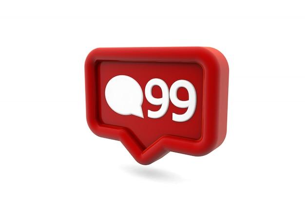 Ícone de notificação de mídia social de comentários isolado