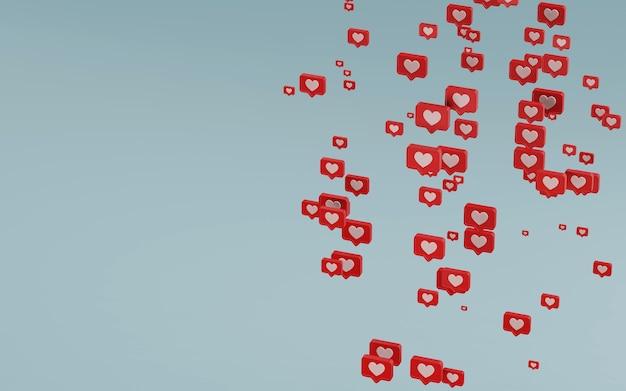 Ícone de notificações de mídia social, renderização 3d