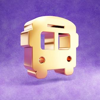 Ícone de ônibus isolado em veludo violeta