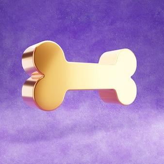 Ícone de osso isolado em veludo violeta