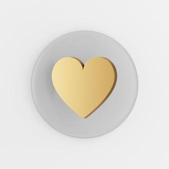 Ícone de ouro de um coração liso. botão chave redondo cinza de renderização 3d, elemento interface ui ux.