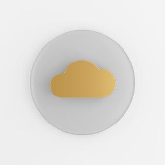 Ícone de ouro nuvem plana. botão chave redondo cinza de renderização 3d, elemento interface ui ux.