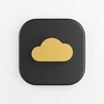 Ícone de ouro nuvem plana. renderização 3d do botão de chave quadrado preto, elemento interface ui ux.