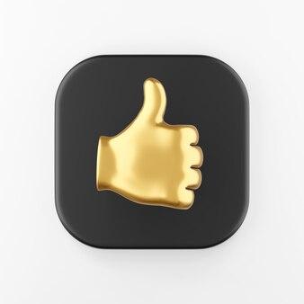 Ícone de palmeira dourada com o polegar para cima. botão chave quadrado preto de renderização 3d, elemento interface ui ux.