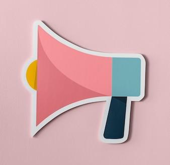 Ícone de papel de áudio de alto-falante de megafone