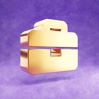 Ícone de pasta isolado em veludo violeta