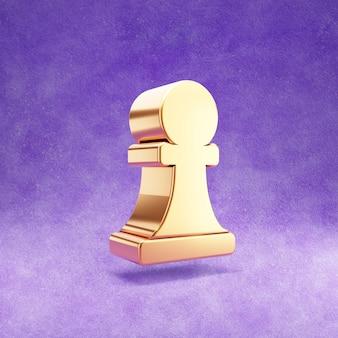 Ícone de peão de xadrez isolado em veludo violeta