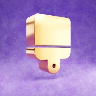 Ícone de pincel isolado em veludo violeta