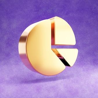 Ícone de pizza do gráfico isolado em veludo violeta