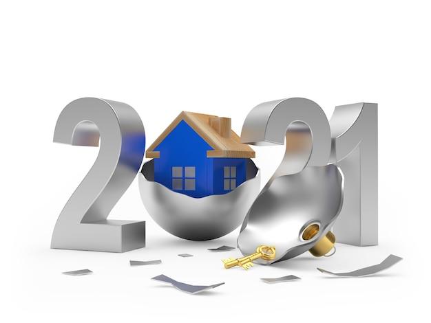 Ícone de prata 2021 e casa azul na bola de natal quebrada