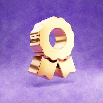 Ícone de prêmio isolado em veludo violeta