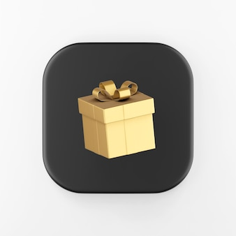 Ícone de presente de ouro com arco. chave do botão quadrado preto de renderização 3d, elemento interface ui ux.