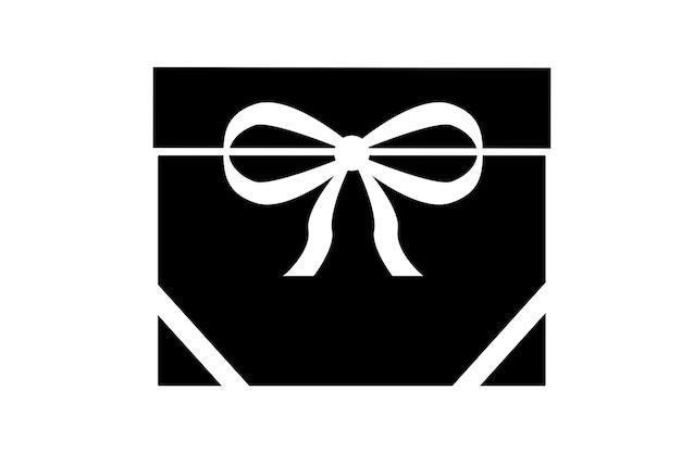 Ícone de presente preto com corações em um fundo branco.
