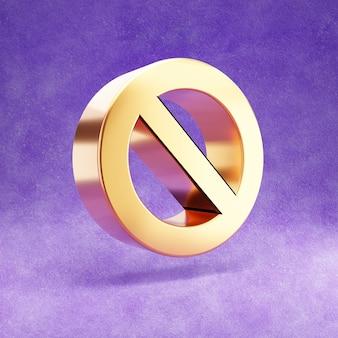 Ícone de proibição isolado em veludo violeta