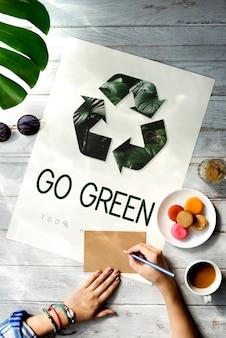 Ícone de reciclagem de ecologia natural ambiental Foto gratuita