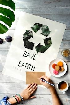 Ícone de reciclagem de ecologia natural ambiental