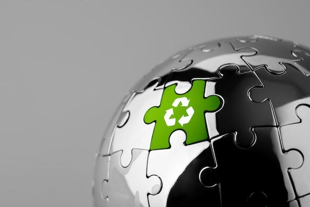 Ícone de reciclagem no quebra-cabeças para eco & mundo verde