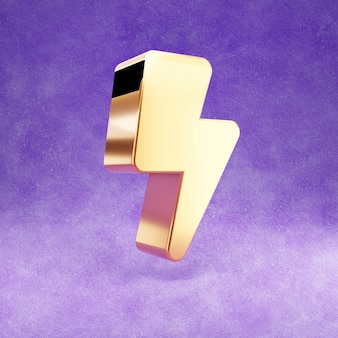 Ícone de relâmpago isolado em veludo violeta