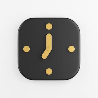 Ícone de relógio de parede com setas de ouro. renderização 3d do botão de chave quadrado preto, elemento interface ui ux.