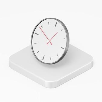 Ícone de relógio redondo de parede no elemento ui ux da interface de renderização 3d