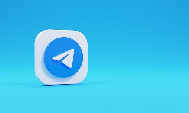 Ícone de renderização 3d logo telegrama realista