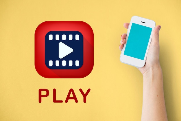 Ícone de reprodução de vídeo de mídia de entretenimento