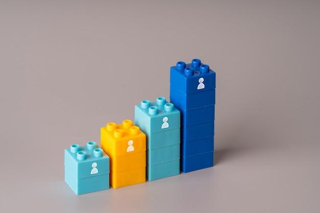 Ícone de rh em blocos de plástico coloridos