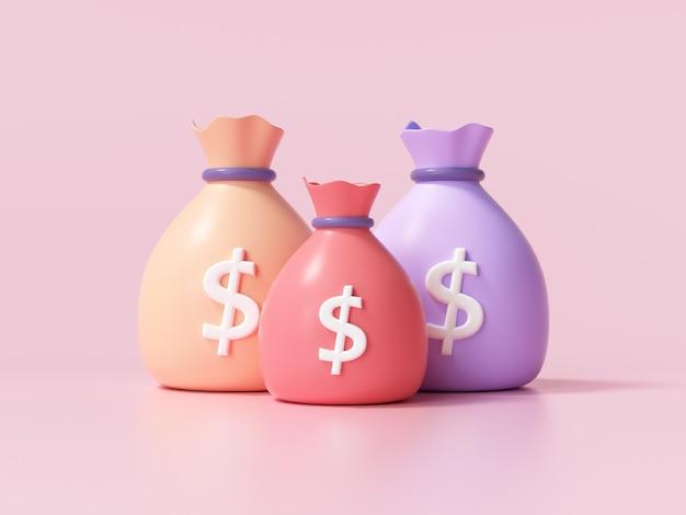 Ícone de sacos de dinheiro, conceito de economia de dinheiro. sacos de dinheiro de diferença no fundo rosa. ilustração 3d render