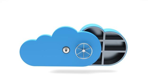 Ícone de segurança em nuvem com elementos de segurança isolados