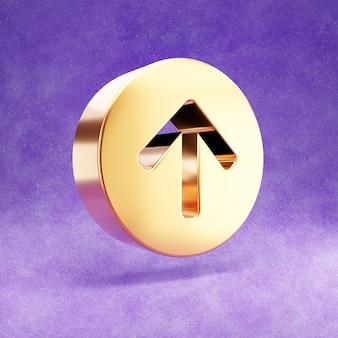 Ícone de seta dourada para cima isolado em veludo violeta