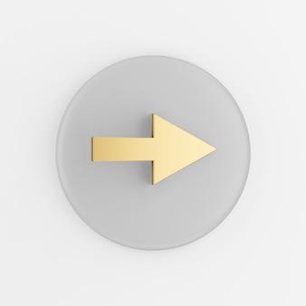 Ícone de seta para a direita de ouro. botão chave redondo cinza de renderização 3d, elemento interface ui ux.