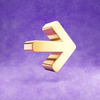 Ícone de seta para a direita isolado em veludo violeta